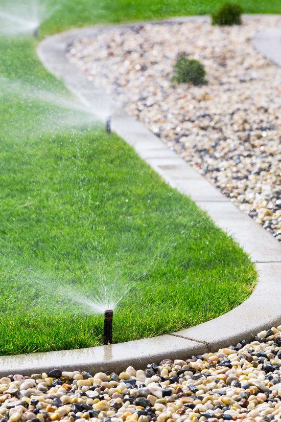 sprinkler system in lawn